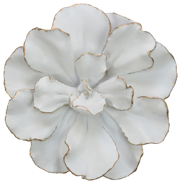 Flower Wall Plaque, White/gold.