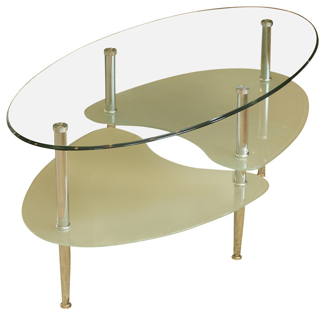 Glass Oval Living Room Metal Coffee Table.