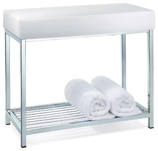 Backless Vanity Stool Bench With Storage Rack Shelf
