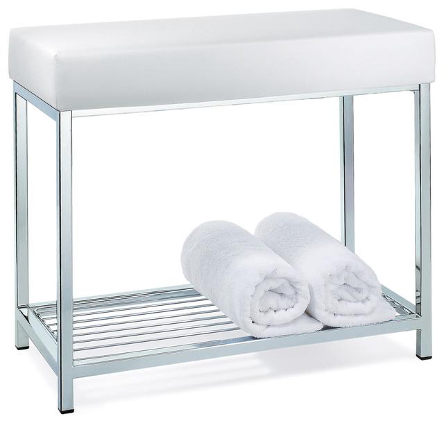 Incroyable Backless Vanity Stool Bench With Storage Rack Shelf, White
