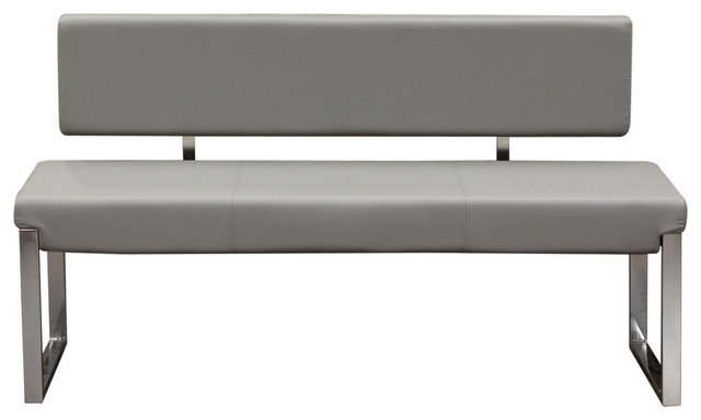 Knox Bench With Back And Stainless Steel Frame, Gray