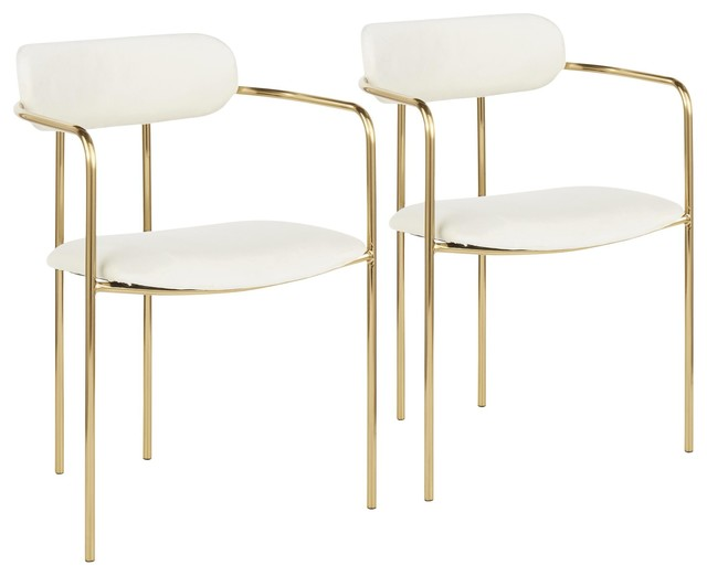 Demi Contemporary Chair in Gold Metal and Cream Velvet, Set of 2