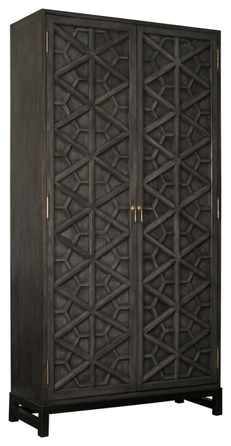 Rafaela Global Bazaar Black Lattice Front Carved Tall Cabinet - Eclectic - Storage Cabinets - by ...