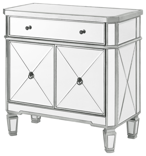 Powell Home Fashions 233 228 Mirrored 32 Inch Wide 1 Drawer Gl Storage Cabin