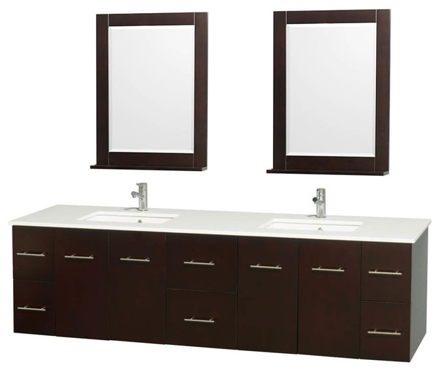 80 double bathroom vanity white man made stone countertops 24 mirror contemporary for Man made bathroom countertops