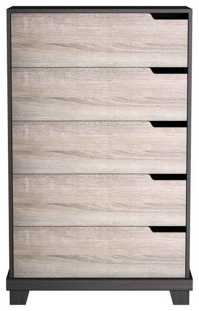 Leigh 5-Drawer Chest, Ash And Espresso.