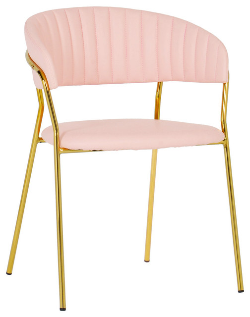 Charmant Faux Blush Pink Leather Dining Chair, Contemporary Modern Gold Side Chair  SetOf2