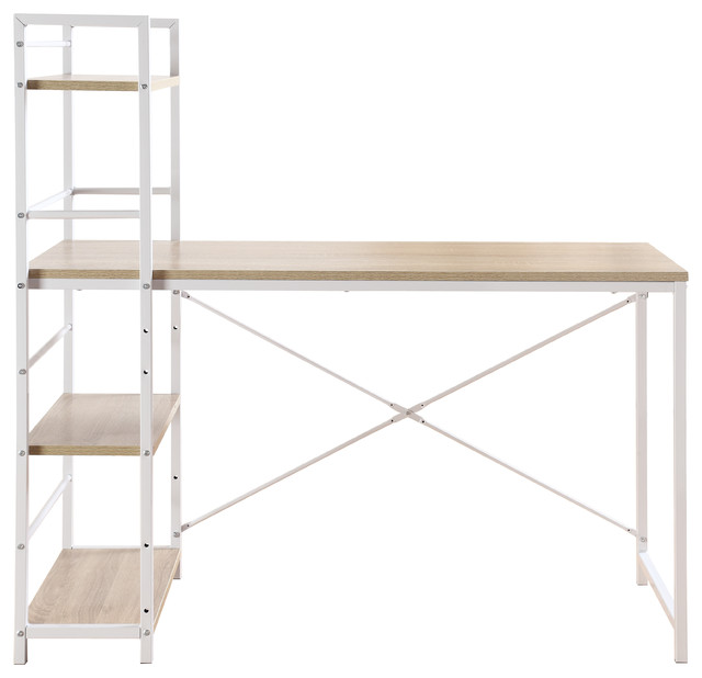 divano roma furniture modern small work computer desk with attached shelving brown u0026