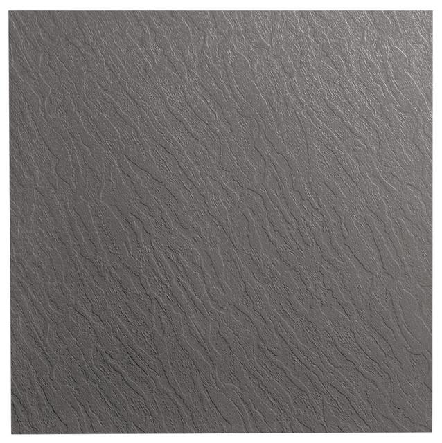 "Roppe 19.69""x19.69"" Dark Gray Slate Profile Rubber Tile."
