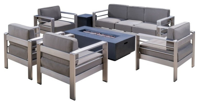 GDF Studio 7-Piece Coral Bay Outdoor Chat Set With Firepit, Gray