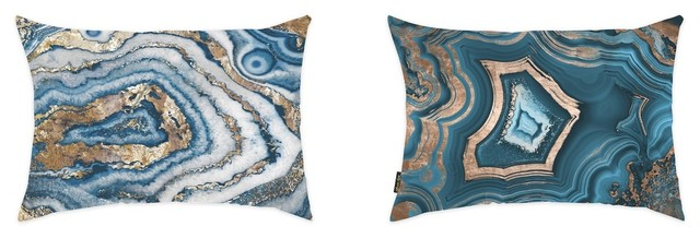 "2-Piece ""blue Geode"" 14""x20"" Pillow Set."