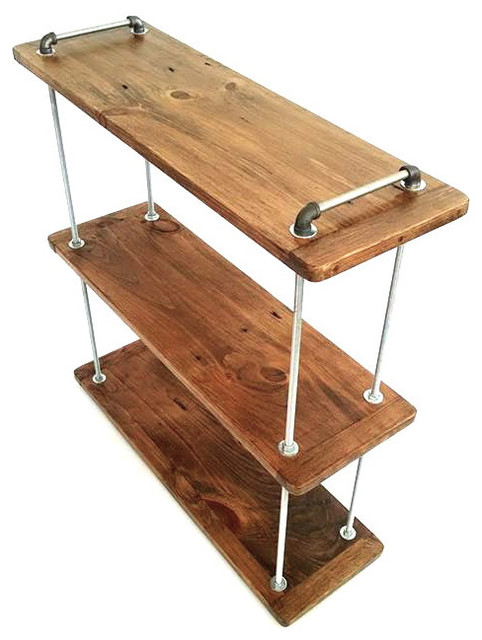 Exceptional 3 Tier Adjustable Threaded Rod Shelf Industrial Bookcases
