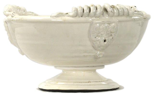 White Decorative Bowl Prepossessing Tuscan White Ceramic Large Footed Pedestal Fruit Bowl  View In Decorating Design