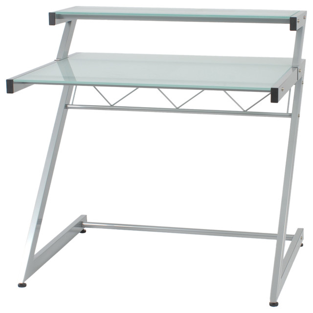 Z Deluxe Desk Small Shelf Aluminum Frosted Glass
