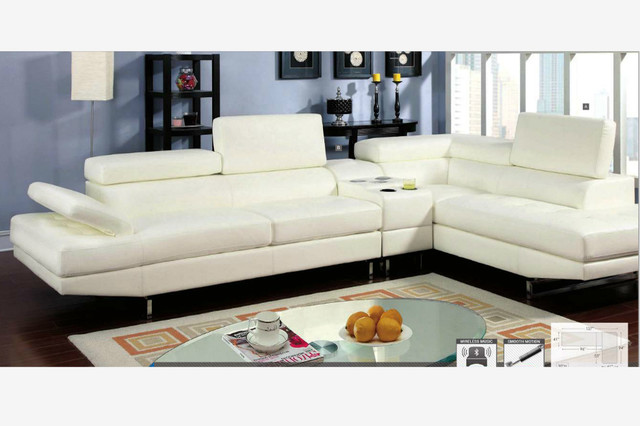 Modern White Leather Sectional Sofa Couch Console Bluetooth Speaker contemporary-sectional-sofas : modern white leather sectional sofa - Sectionals, Sofas & Couches