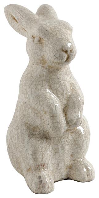 glazed crackle ceramic rabbit statue farmhouse garden statues and yard - Farmhouse Garden Decor