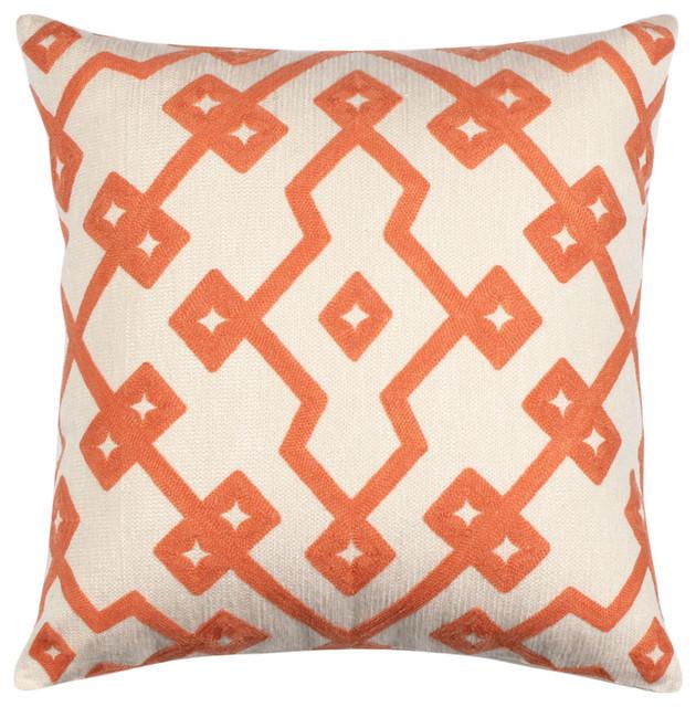 18 X 18 Embroidered Cotton Geometric Peach Orange Throw Pillow