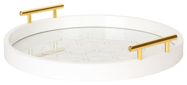 Laurel Caspen Decorative Tray, White. -1
