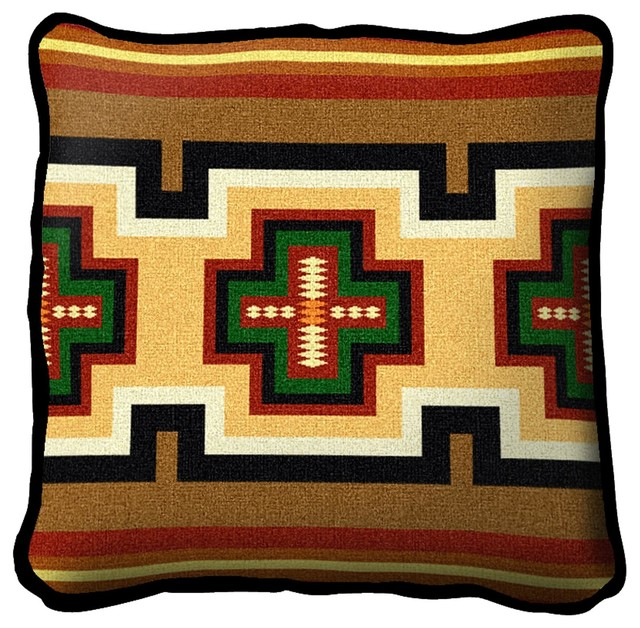 Pure Country Weavers - Southwest Geometric Green and Red Pillow - View in Your Room! Houzz