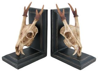 Muntjac deer skull and antlers decorative bookends southwestern bookends by zeckos - Deer antler bookends ...