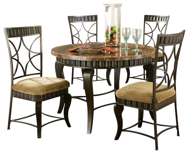 Steve Silver Hamlyn 6 Piece Dining Room Set With Marble Top And Metal Base Traditional