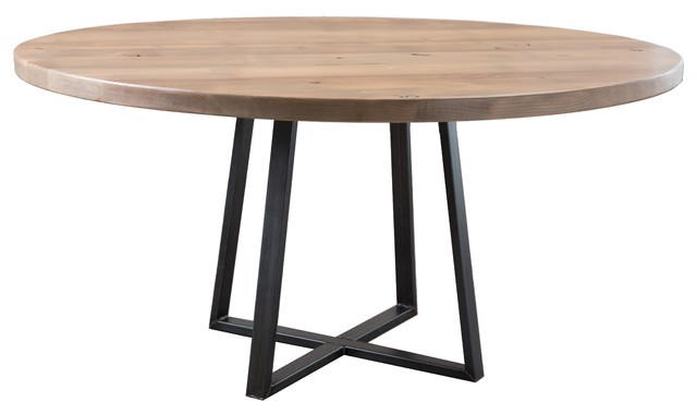 Round Industrial Steel Pedestal Table, Charred Ember Finish