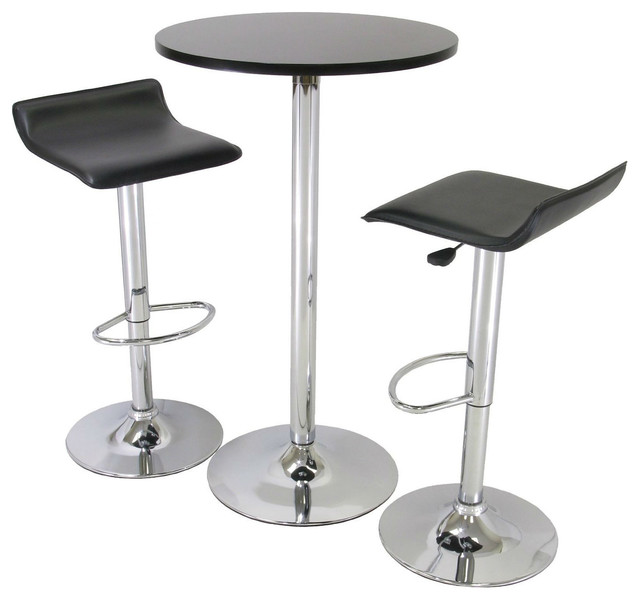 3 Piece Modern Dining Set With Bistro Table And 2 Stool Contemporary Indoor