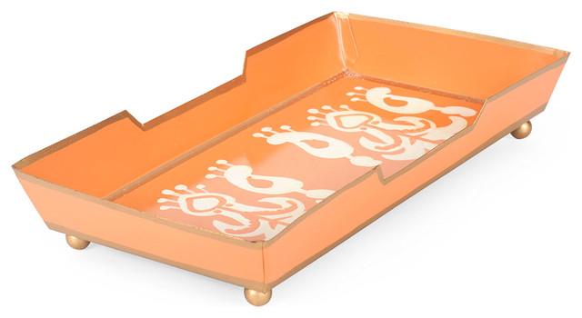 Ikat Orange Guest Towel Tray.