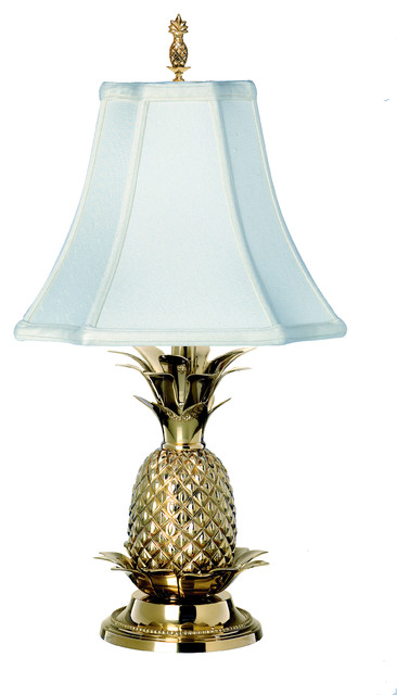 Elegant Pineapple Table Lamp, Polished Brass With Off White Shade Tropical  Table