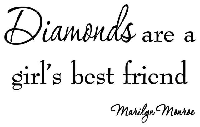 VWAQ Diamonds Are a Girl\'s Best Friend Marilyn Monroe Vinyl Wall Decal  Saying