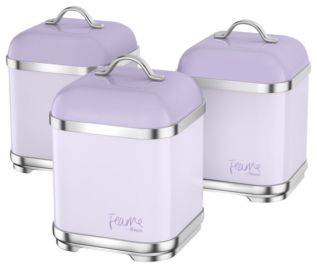 Stainless Steel Canisters, Purple Lily, Set of 3