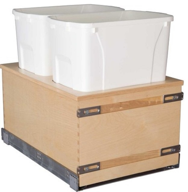Bottom Mounted 35 Qt Cabinet Double Waste Garbage Bin Close Pull Out Trash Can