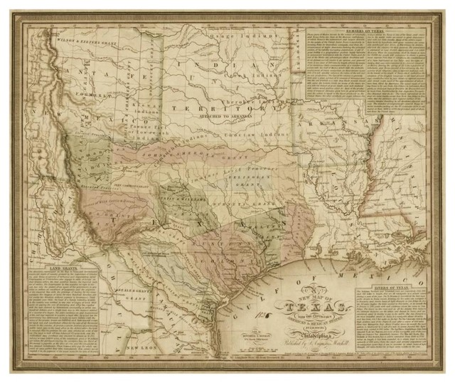 New Map Of Texas.New Map Of Texas Contiguous American Mexican States 1835 Paper Art 46 X39