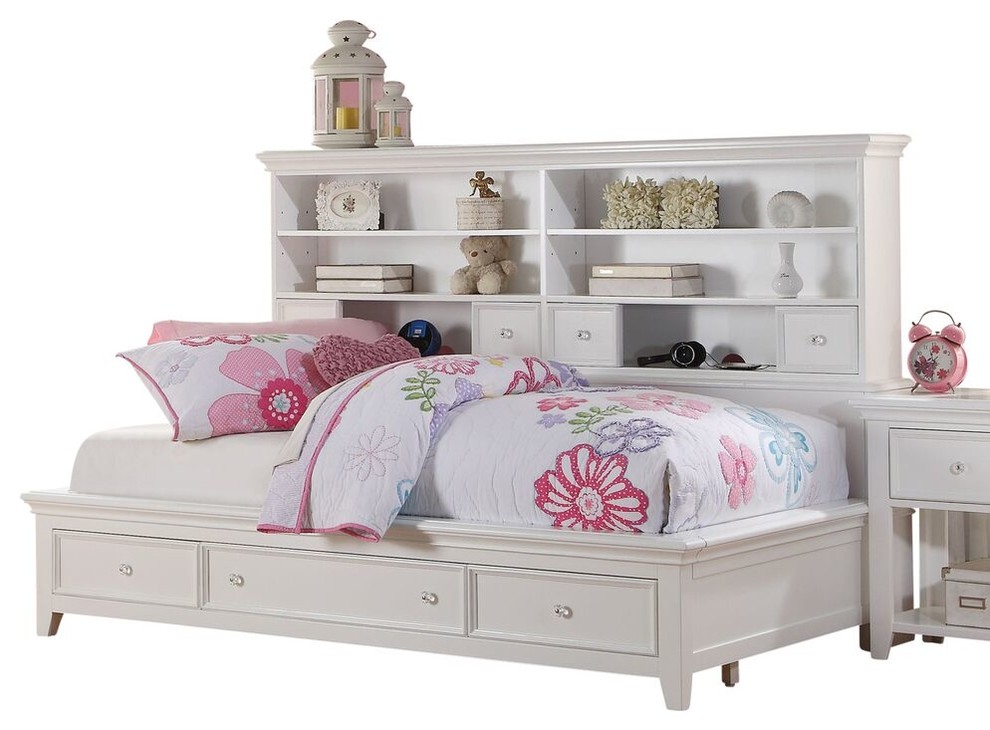 Trixie White Big Bookcase Storage Bed - Transitional ...