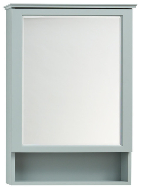 "Ronbow Solid Wood Framed Medicine Cabinet, Ocean Gray, 24""x34""."
