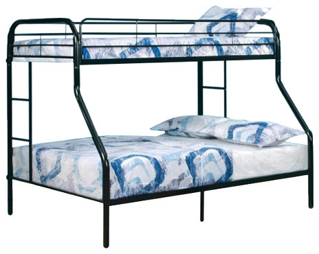 Black metal construction twin over full size bunk bed with attached ladder contemporary bunk - Beds with desks attached ...