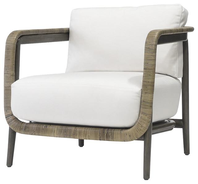 Palecek Duvall Coastal Beach Hardwood Frame linen Bisque Fabric Lounge Chair