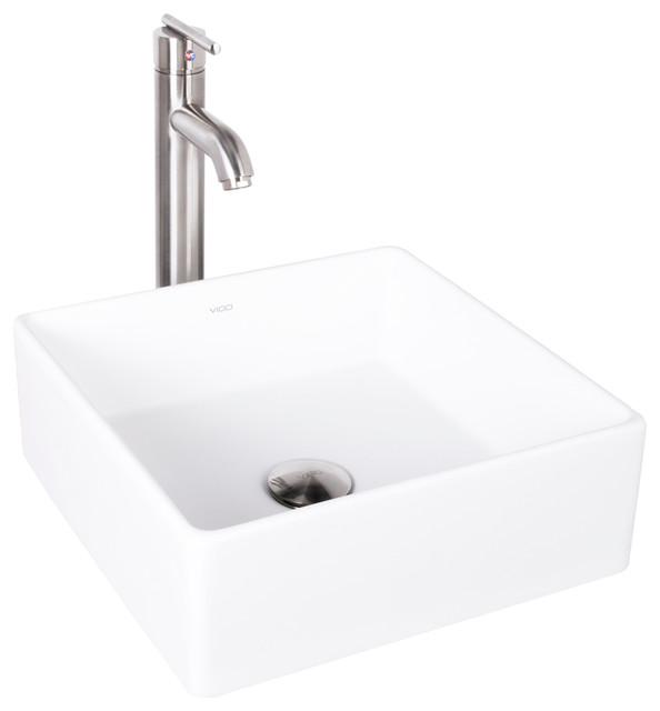Vigo Dianthus Matte Stone Vessel Sink And Seville Vessel Faucet, Brushed Nickel.