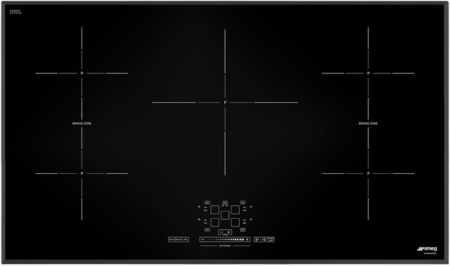 """Smeg 36"""" Electric Induction Smoothtop Cooktop With 5 Elements, Black."""