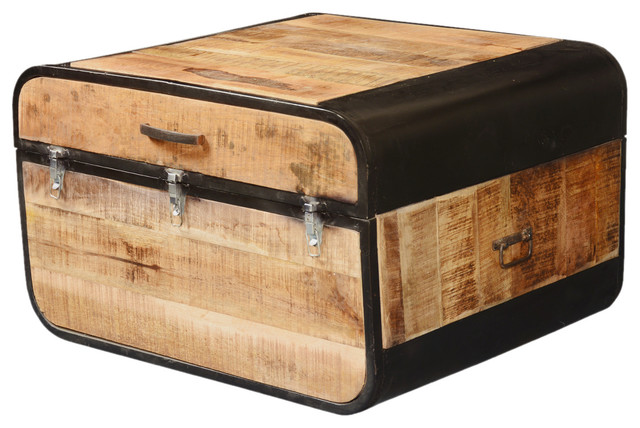 Colorado Fusion Rustic Solid Wood And Iron Storage Trunk