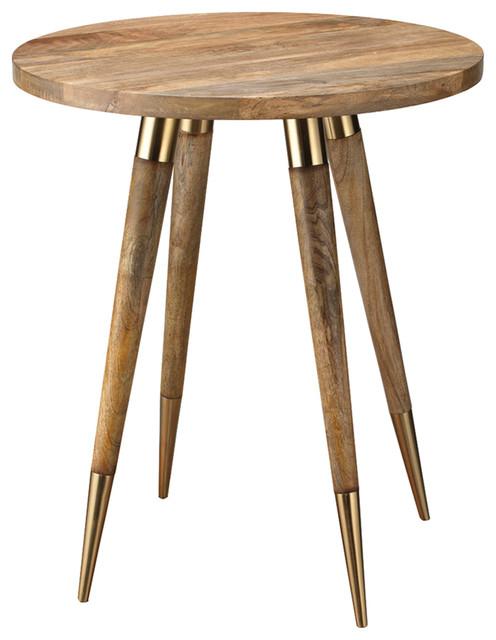 Derek Mid Century Modern Round Brown Wood Side Table