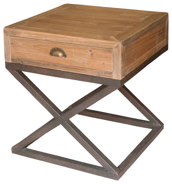 Hansen Industrial Loft Reclaimed Wood Chest Metal Base Nightstand