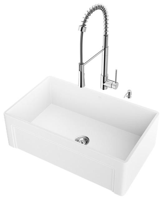 "Vigo All-In-One 30"" Casement Front Matte Stone Farmhouse Kitchen Sink Set."