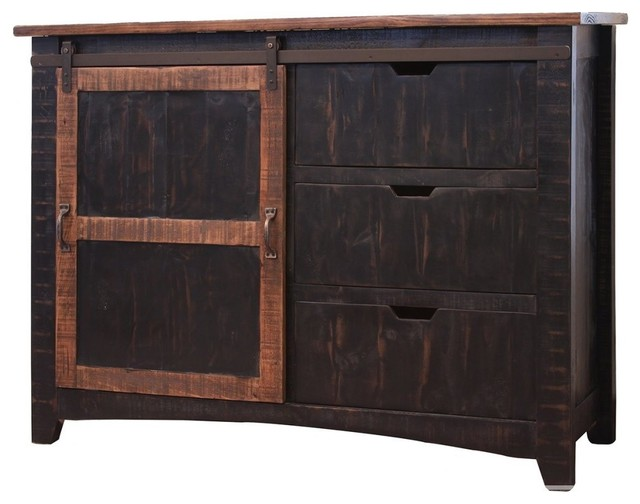Rustic Style Solid Pine Wood Black Console Sideboard 3 Drawers