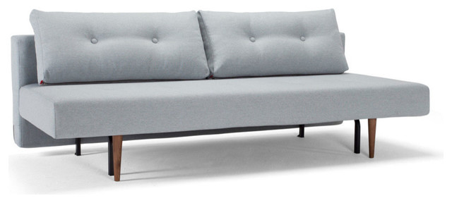 Convertible Tufted Sofa Bed, Light Gray.