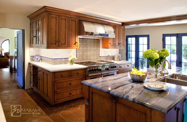 Blue Spanish Colonial Kitchen Mediterranean Kitchen Santa Barbara By