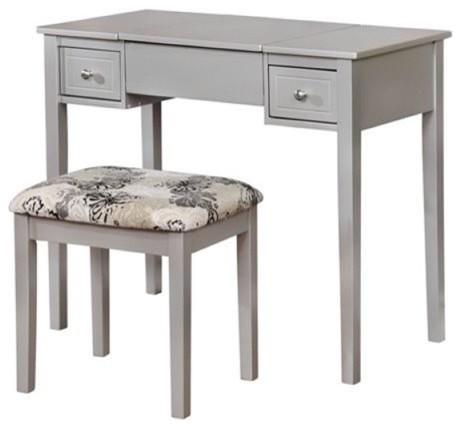 Atlin Designs 2 Piece Bedroom Vanity Set, Silver Bedroom And Makeup