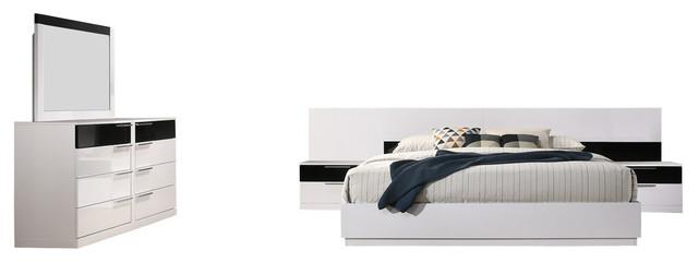 Bahamas 5 Pieces Modern Platform White/ Black Bedroom Set, 5 Pcs Queen Set