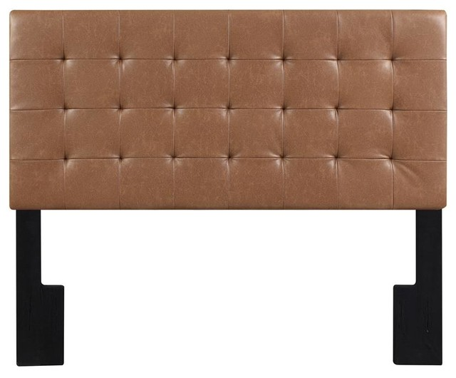 Faux Leather Biscuit Tuft Upholstered Headboard, Lummus Cognac, King.