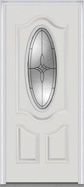 "Lenora Small Oval 2-Panel Deluxe Fiberglass Smooth, 37.5""x81.75"", Left."